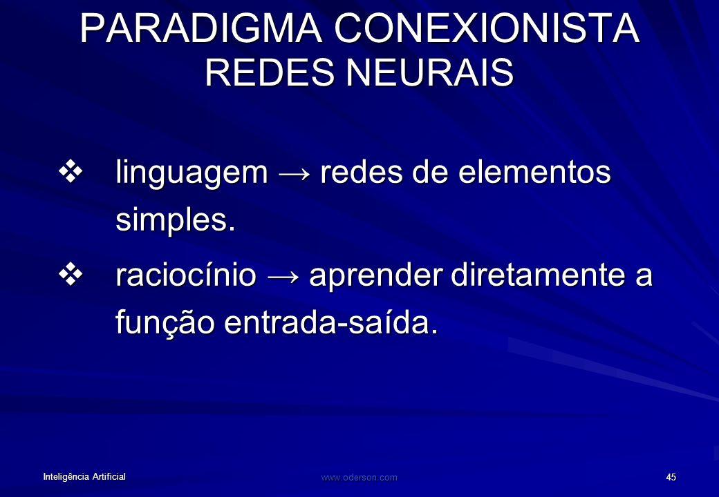 Inteligência Artificial www.oderson.com 44 PARADIGMA CONEXIONISTA REDES NEURAIS Definição Romântica: Técnica inspirada no funcionamento do cérebro, on