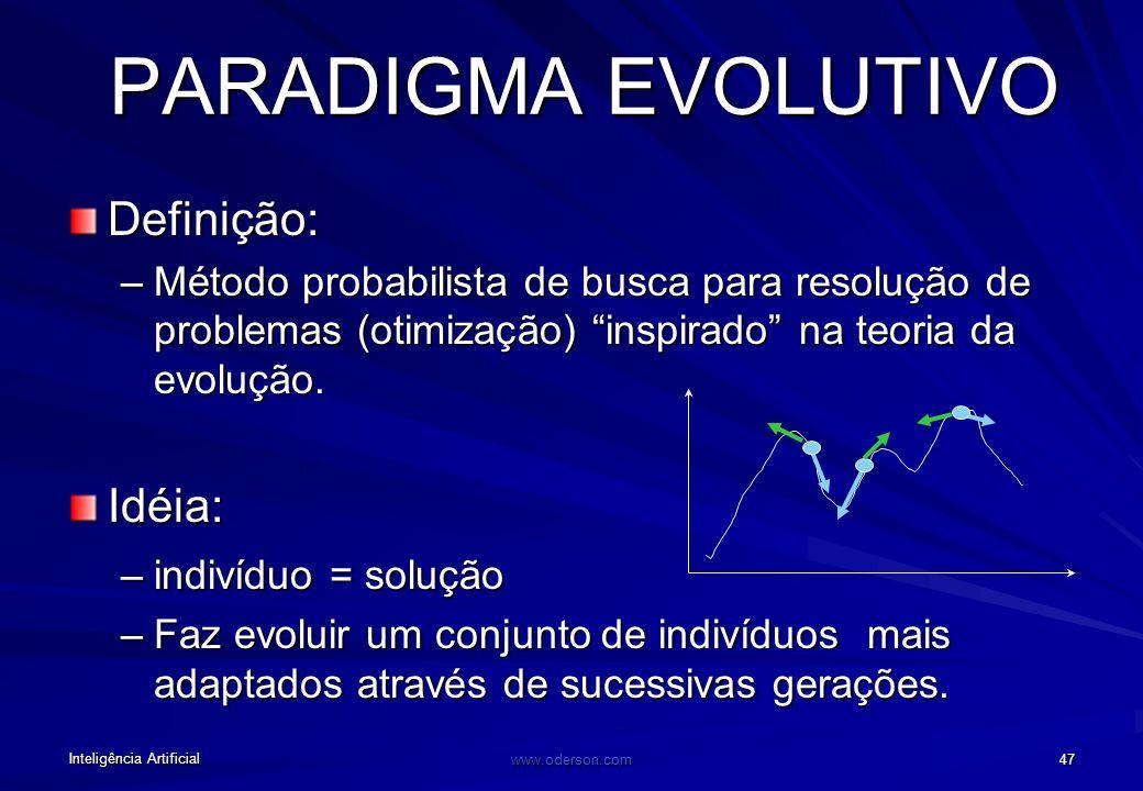 Inteligência Artificial www.oderson.com 46 PARADIGMA EVOLUTIVO Diversidade é gerada por cruzamento e mutações. Os seres mais adaptados ao seus ambient