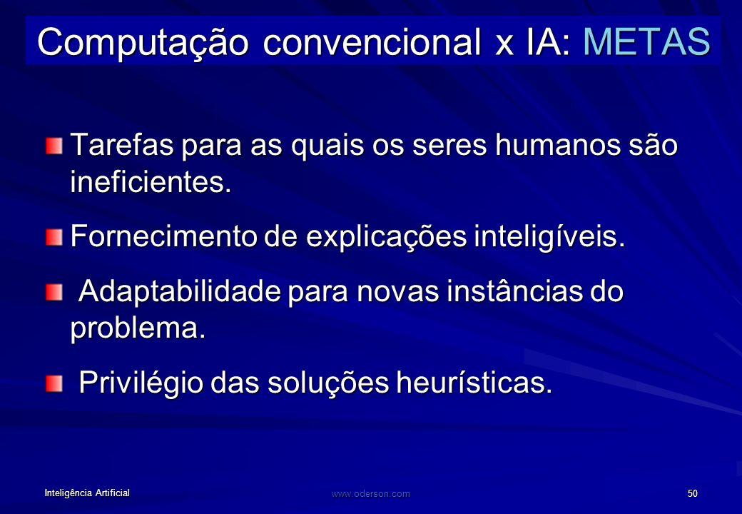 Inteligência Artificial www.oderson.com 49 Computação convencional x IA: classes de problemas Solução matemática (NÃO), conhecimento (SIM): IA simbóli