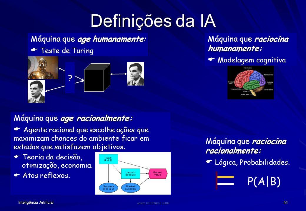 Inteligência Artificial www.oderson.com 50 Computação convencional x IA: METAS Tarefas para as quais os seres humanos são ineficientes. Fornecimento d