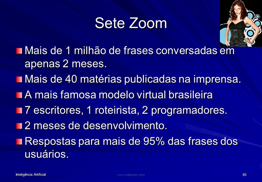 Inteligência Artificial www.oderson.com 64 Sete Zoom Modelo Virtual (UNILEVER) Criada pela Insite para a Gessy Lever. O projeto consistiu na criação d
