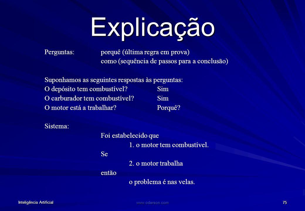 Inteligência Artificial www.oderson.com 74 Grafo e/ou para a procura da solução O problema é X Regra1: o problema é nas velas Regra1: o problema é nos