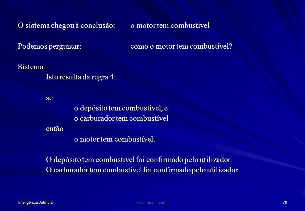 Inteligência Artificial www.oderson.com 75 Explicação Perguntas: porquê (última regra em prova) como (sequência de passos para a conclusão) Suponhamos