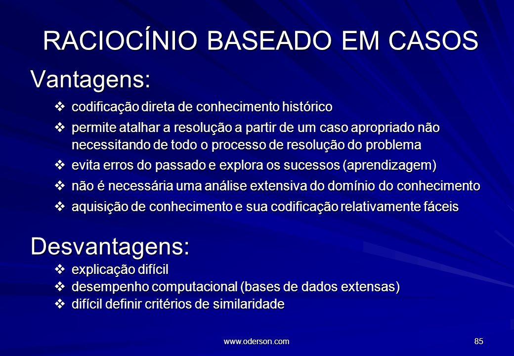 www.oderson.com 84 RACIOCÍNIO BASEADO EM REGRAS DESVANTAGENS regras altamente heurísticas, falta de profundidade não manuseiam falta de informação ou