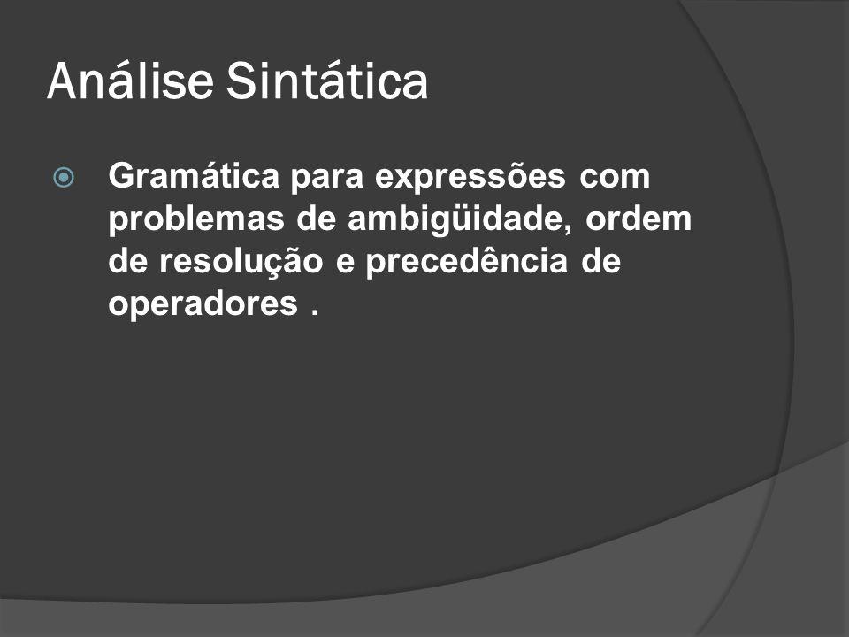 Análise Sintática Gramática para expressões com problemas de ambigüidade, ordem de resolução e precedência de operadores.