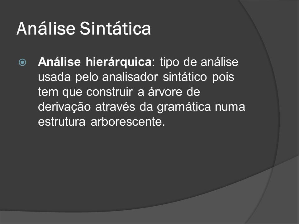 Análise Sintática Análise hierárquica: tipo de análise usada pelo analisador sintático pois tem que construir a árvore de derivação através da gramáti