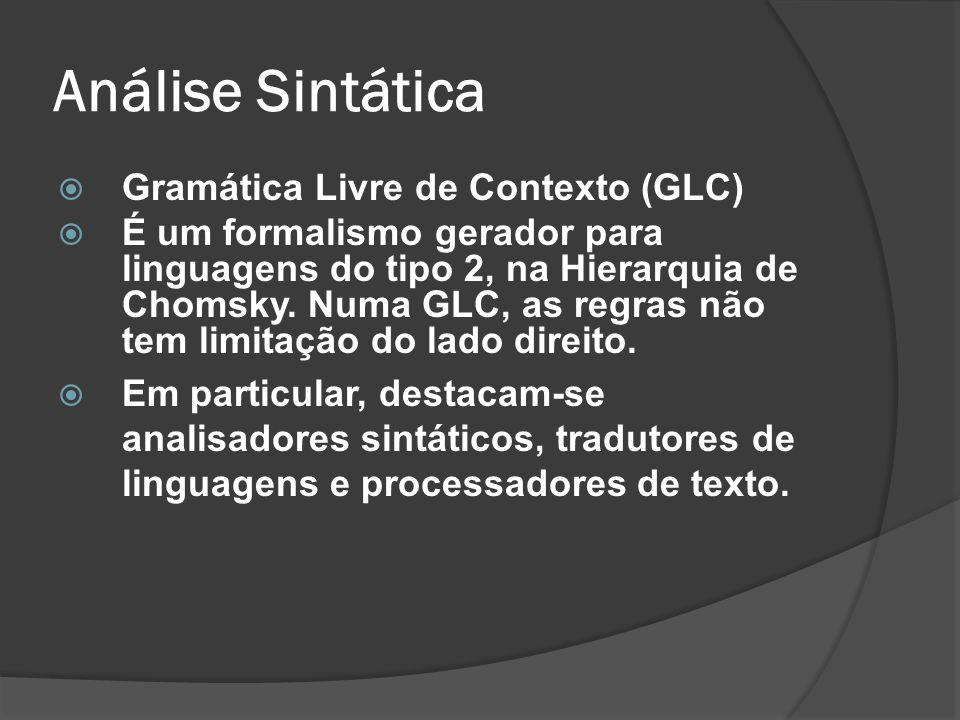 Análise Sintática Gramática Livre de Contexto (GLC) É um formalismo gerador para linguagens do tipo 2, na Hierarquia de Chomsky. Numa GLC, as regras n