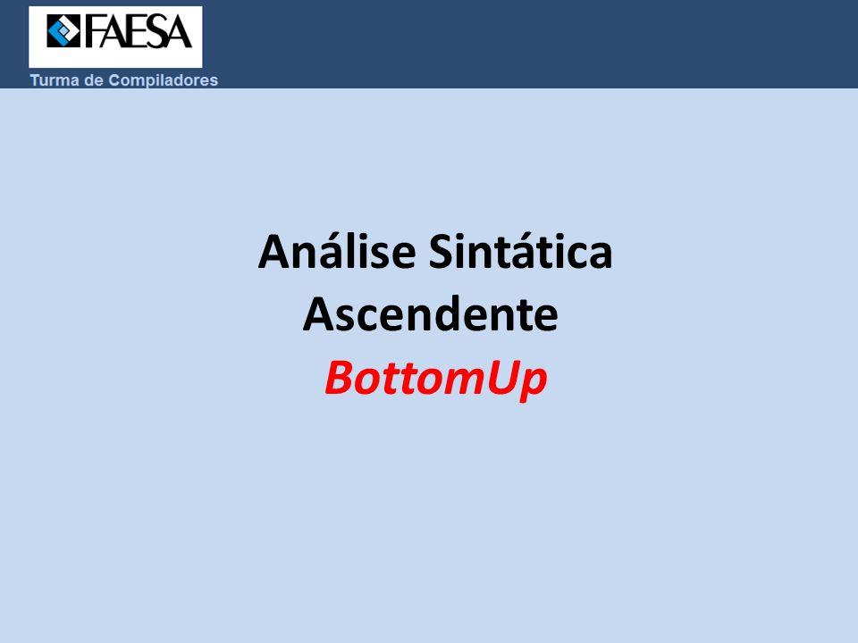 Análise Sintática Ascendente  BottomUp