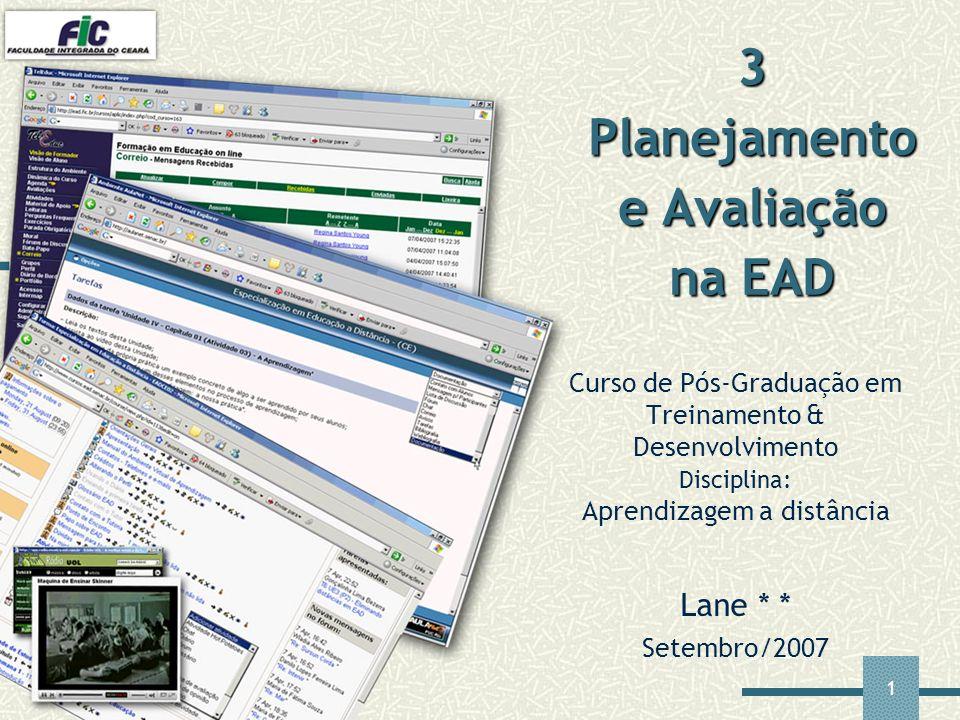 1 Curso de Pós-Graduação em Treinamento & Desenvolvimento Disciplina: Aprendizagem a distância Lane * * Setembro/2007 3 Planejamento e Avaliação na EA
