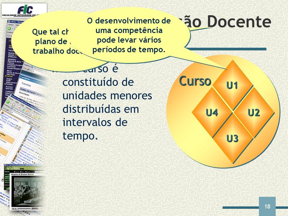 18 Curso U1U1 U3U3 Plano de Ação Docente Um curso é constituído de unidades menores distribuídas em intervalos de tempo. U4U4U2U2 Que tal chamar de pl