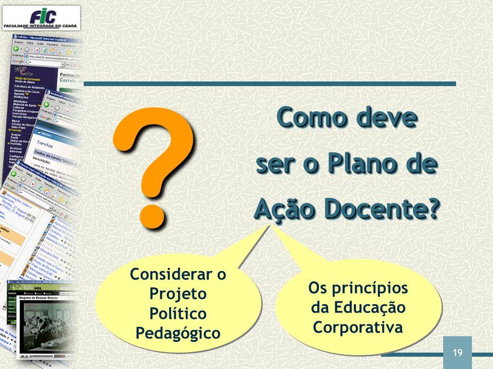 19 Como deve ser o Plano de Ação Docente? ? Considerar o Projeto Político Pedagógico Os princípios da Educação Corporativa