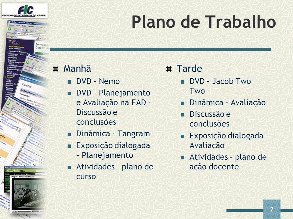 2 Plano de Trabalho Manhã DVD - Nemo DVD – Planejamento e Avaliação na EAD - Discussão e conclusões Dinâmica - Tangram Exposição dialogada – Planejame