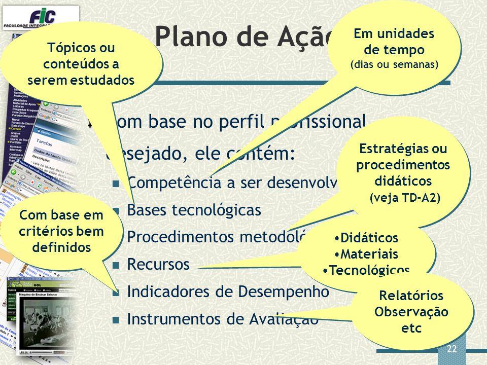 22 Plano de Ação Docente Com base no perfil profissional desejado, ele contém: Competência a ser desenvolvida Bases tecnológicas Procedimentos metodol