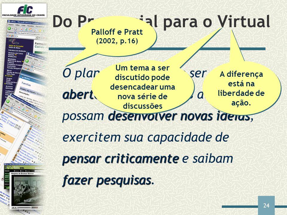 24 Do Presencial para o Virtual aberto desenvolvernovas idéias pensar criticamente fazer pesquisas O planejamento deve ser mais aberto a fim de que os
