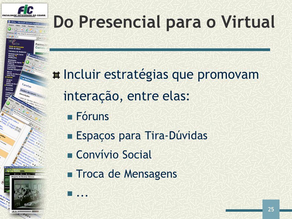 25 Do Presencial para o Virtual Incluir estratégias que promovam interação, entre elas: Fóruns Espaços para Tira-Dúvidas Convívio Social Troca de Mens