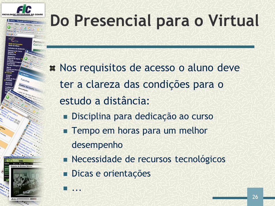 26 Do Presencial para o Virtual Nos requisitos de acesso o aluno deve ter a clareza das condições para o estudo a distância: Disciplina para dedicação