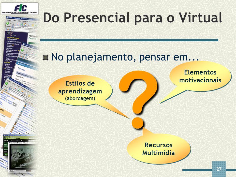 27 Do Presencial para o Virtual ? Elementos motivacionais No planejamento, pensar em... Recursos Multimídia Estilos de aprendizagem (abordagem)