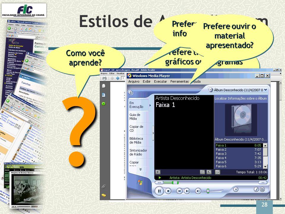 28 Estilos de Aprendizagem ? Como você aprende? Prefere trabalhar com gráficos ou diagramas que representam a informação? Prefere ler a informação? Pr