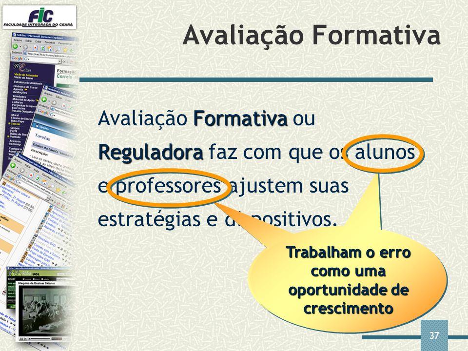 37 Formativa Reguladora Avaliação Formativa ou Reguladora faz com que os alunos e professores ajustem suas estratégias e dispositivos. Avaliação Forma