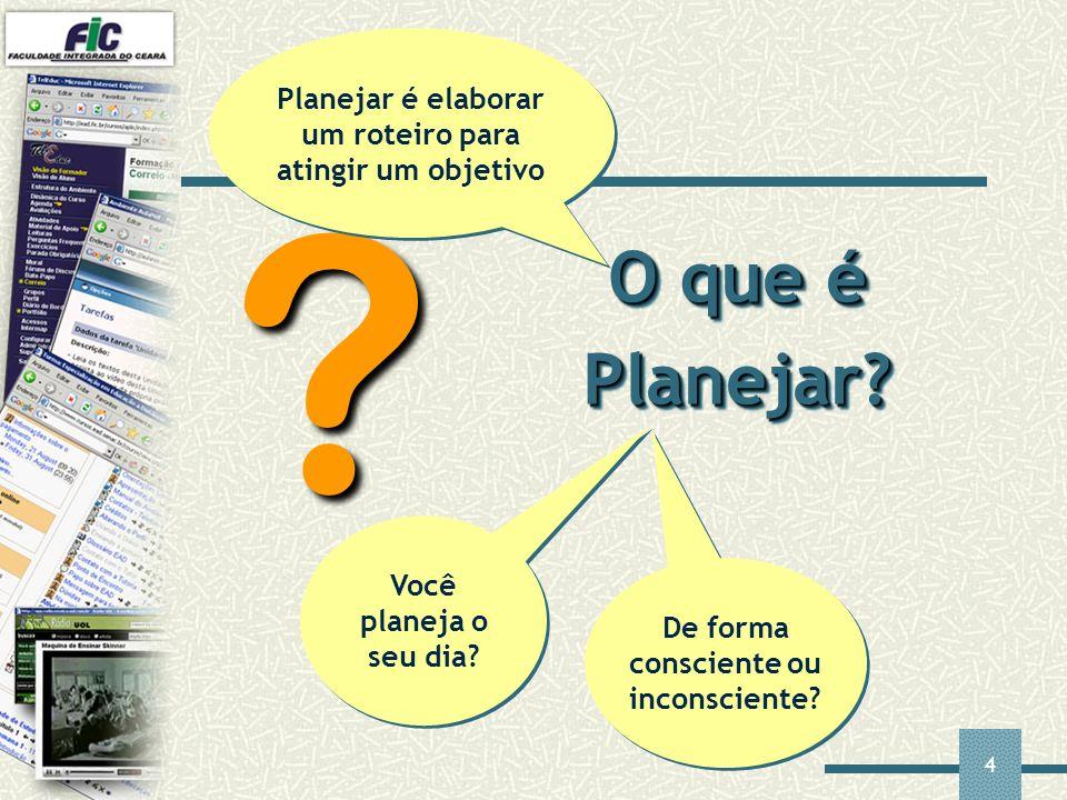 4 O que é Planejar? ? Você planeja o seu dia? De forma consciente ou inconsciente? Planejar é elaborar um roteiro para atingir um objetivo
