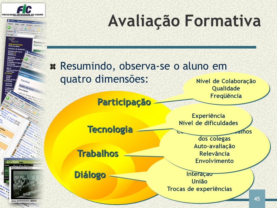 45 Participação Tecnologia Trabalhos Avaliação Formativa Resumindo, observa-se o aluno em quatro dimensões: Diálogo Reflexão Interação União Trocas de