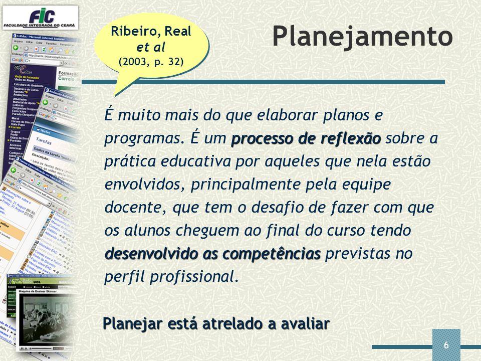6 Planejamento processo de reflexão desenvolvido as competências É muito mais do que elaborar planos e programas. É um processo de reflexão sobre a pr
