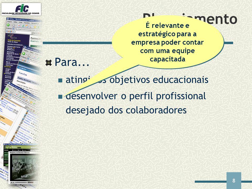 8 Planejamento Para... atingir os objetivos educacionais desenvolver o perfil profissional desejado dos colaboradores É relevante e estratégico para a