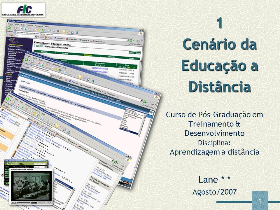 1 Curso de Pós-Graduação em Treinamento & Desenvolvimento Disciplina: Aprendizagem a distância Lane * * Agosto/2007 1 Cenário da Educação a Distância