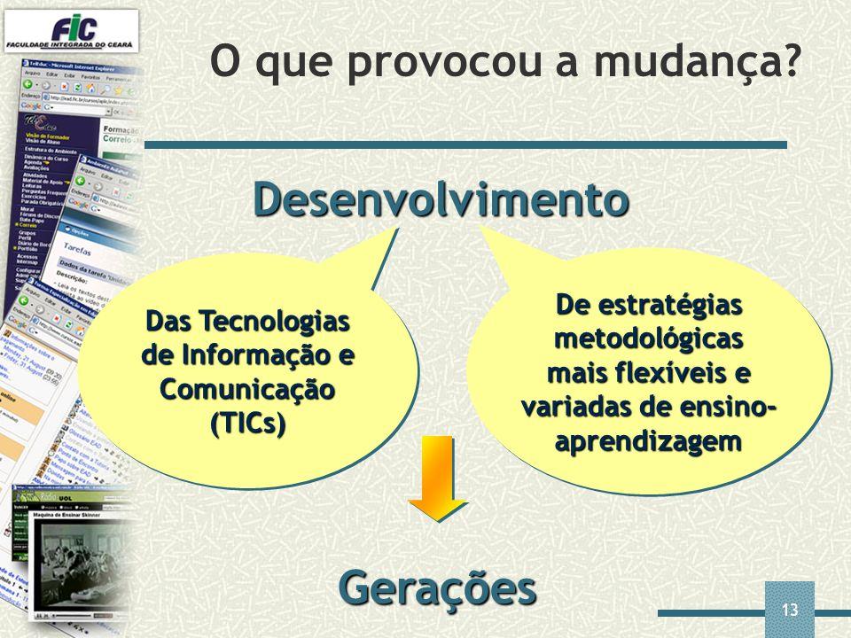 13 O que provocou a mudança? Desenvolvimento Das Tecnologias de Informação e Comunicação (TICs) De estratégias metodológicas mais flexíveis e variadas