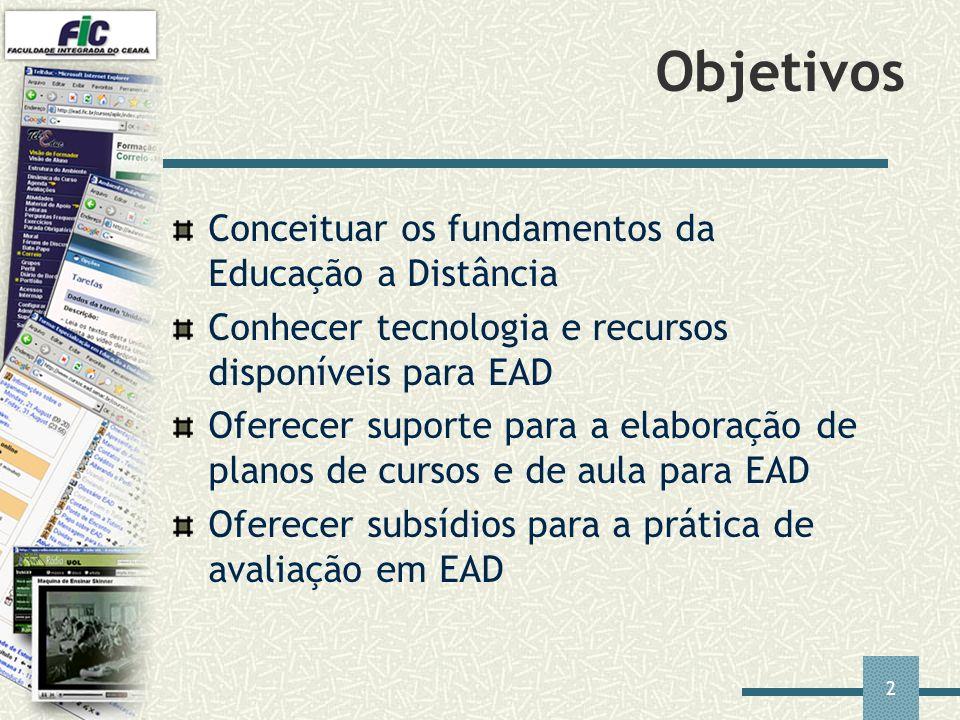 2 Objetivos Conceituar os fundamentos da Educação a Distância Conhecer tecnologia e recursos disponíveis para EAD Oferecer suporte para a elaboração d