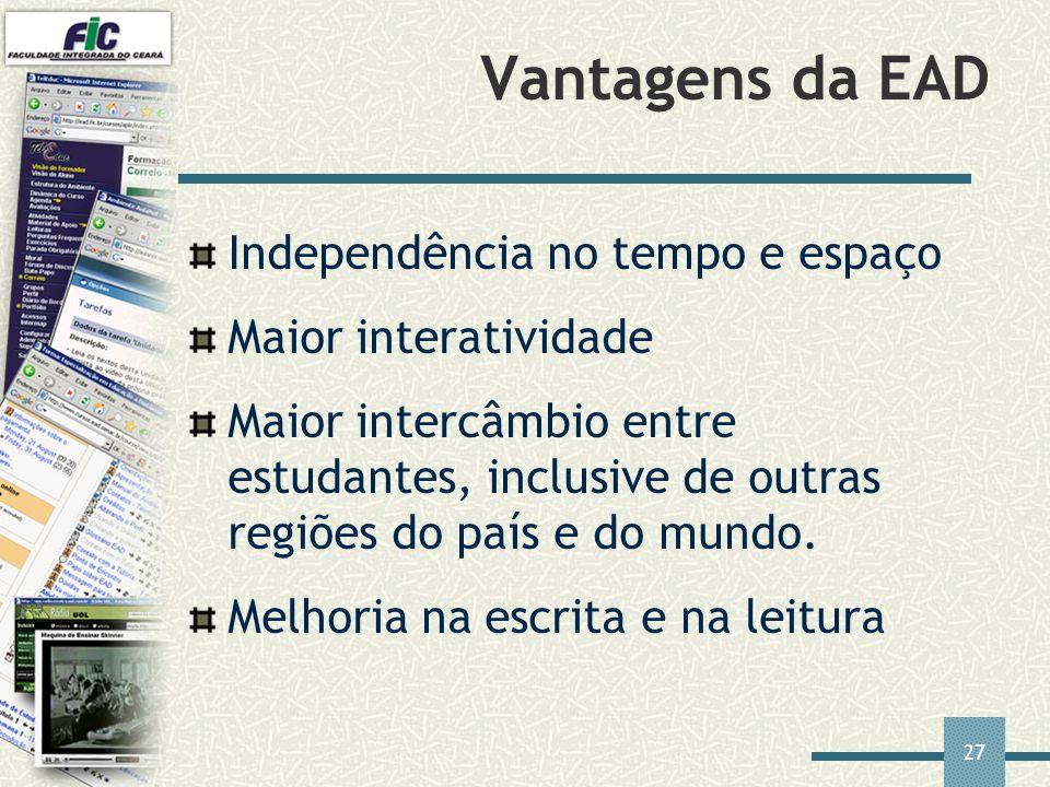 27 Vantagens da EAD Independência no tempo e espaço Maior interatividade Maior intercâmbio entre estudantes, inclusive de outras regiões do país e do