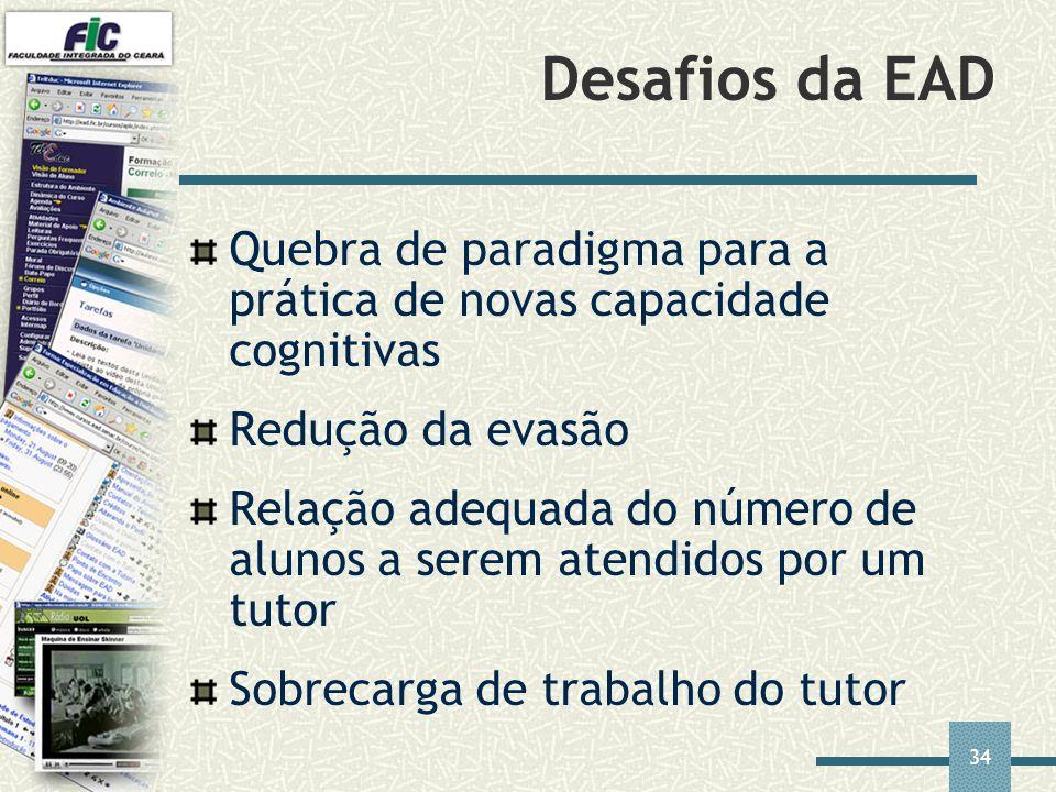 34 Desafios da EAD Quebra de paradigma para a prática de novas capacidade cognitivas Redução da evasão Relação adequada do número de alunos a serem at
