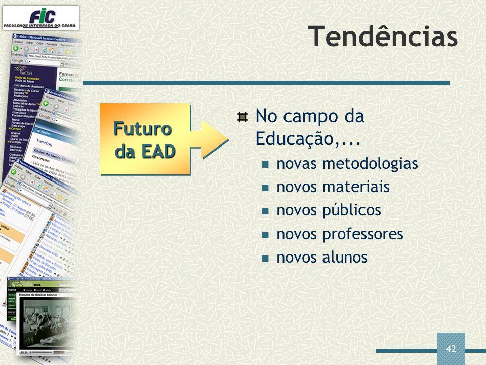 42 Tendências No campo da Educação,... novas metodologias novos materiais novos públicos novos professores novos alunos Futuro da EAD