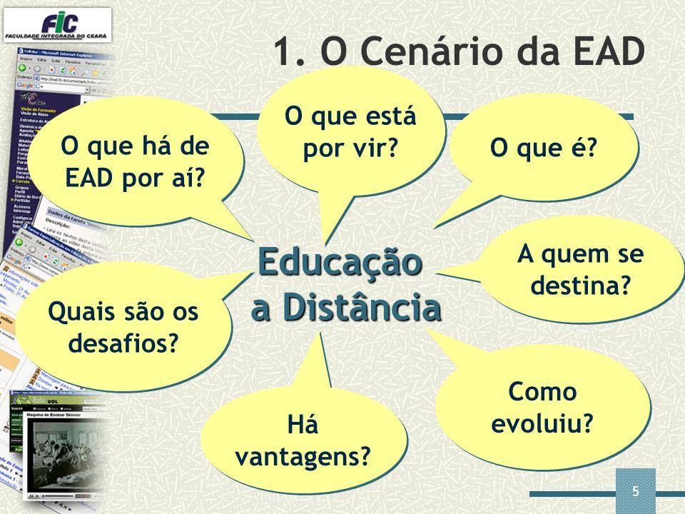 5 1. O Cenário da EAD Educação a Distância O que é? A quem se destina? Como evoluiu? Há vantagens? Quais são os desafios? O que há de EAD por aí? O qu