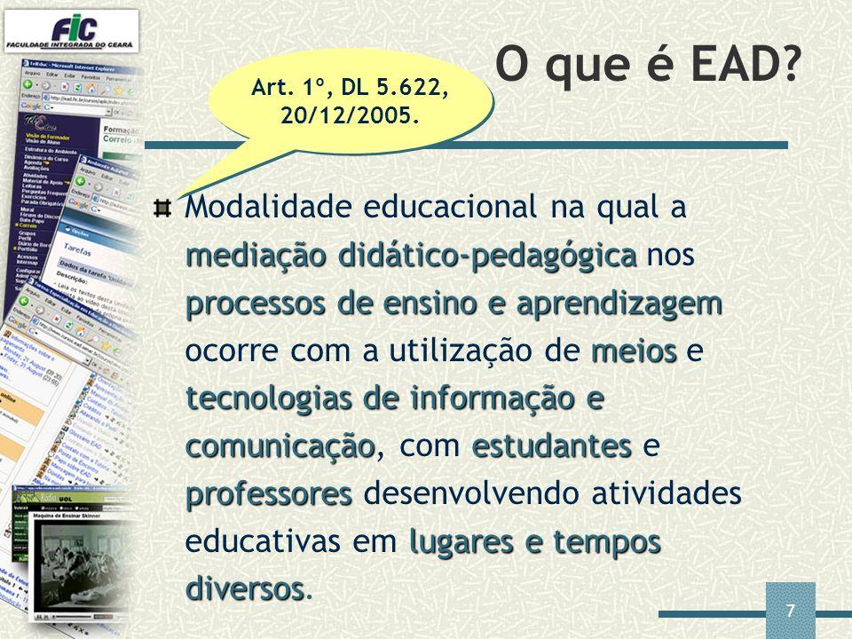 7 O que é EAD? mediaçãodidático-pedagógica processos de ensino e aprendizagem meios tecnologias de informação e comunicaçãoestudantes professores luga