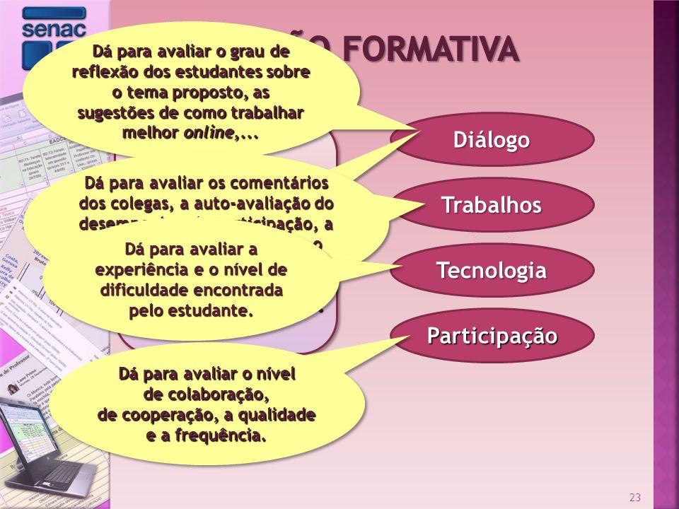 Diálogo Trabalhos Participação Tecnologia Das colocações feitas, pode-se relacionar como aspectos relevantes a serem observados: 23 Dá para avaliar o