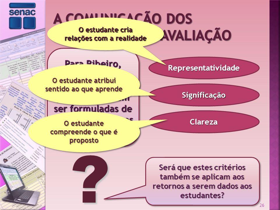 Para Ribeiro, as provas e situações- problema devem ser formuladas de acordo com alguns critérios: Representatividade Significação Clareza 26 Será que