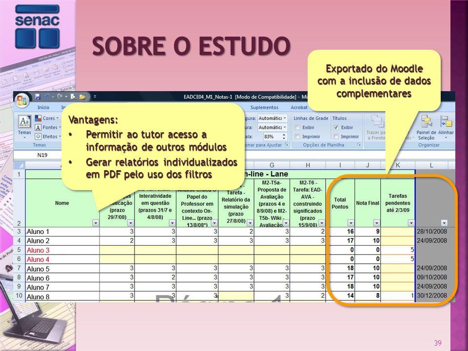 39 Exportado do Moodle com a inclusão de dados complementares Vantagens: Permitir ao tutor acesso a informação de outros módulos Permitir ao tutor ace
