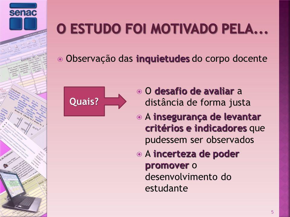 inquietudes Observação das inquietudes do corpo docente 5 Quais? desafio de avaliar O desafio de avaliar a distância de forma justa insegurança de lev