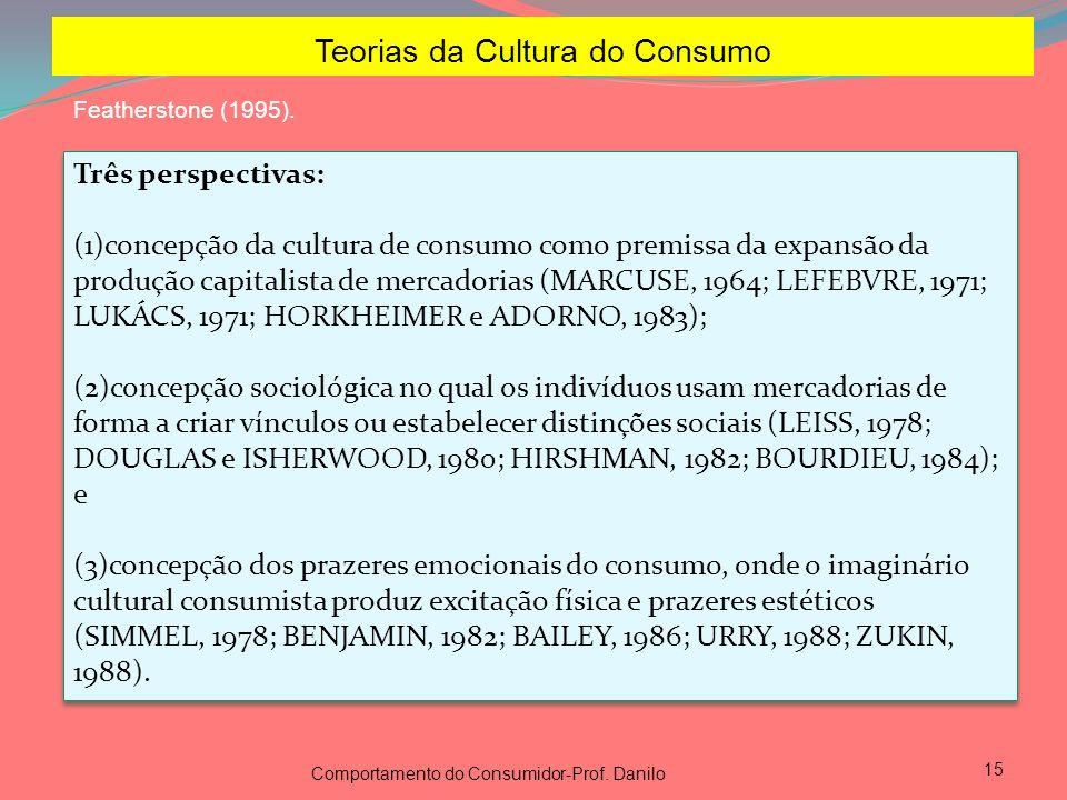 15 Teorias da Cultura do Consumo Featherstone (1995). Três perspectivas: (1)concepção da cultura de consumo como premissa da expansão da produção capi