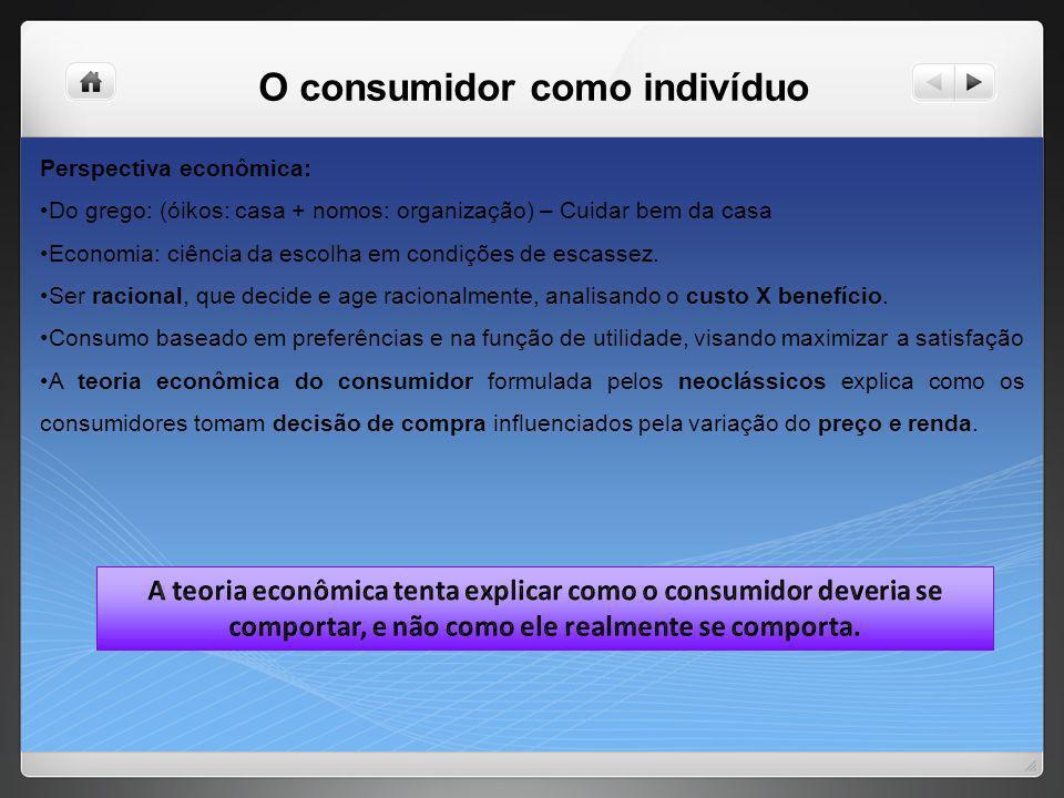 O consumidor como indivíduo Perspectiva econômica: Do grego: (óikos: casa + nomos: organização) – Cuidar bem da casa Economia: ciência da escolha em c