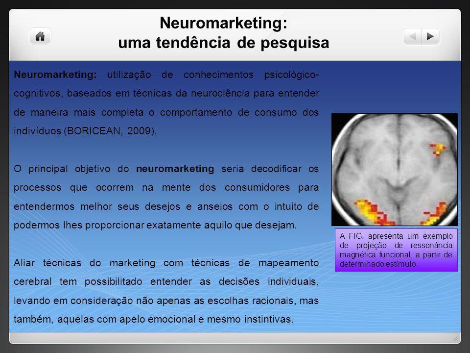 Neuromarketing: uma tendência de pesquisa Neuromarketing: utilização de conhecimentos psicológico- cognitivos, baseados em técnicas da neurociência pa