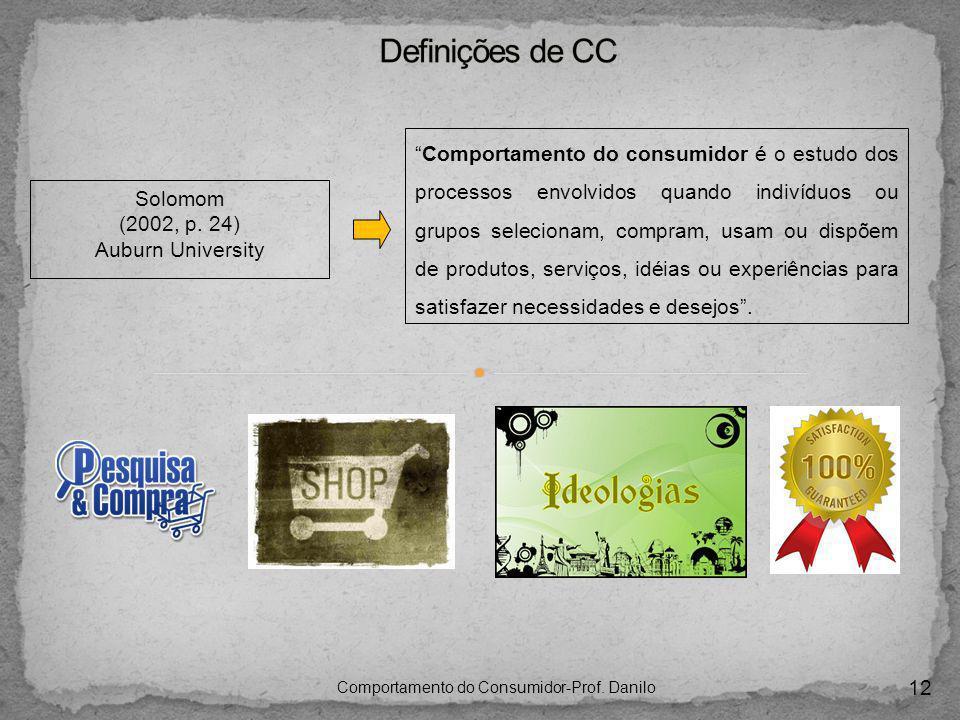 12 Comportamento do Consumidor-Prof. Danilo Solomom (2002, p. 24) Auburn University Comportamento do consumidor é o estudo dos processos envolvidos qu