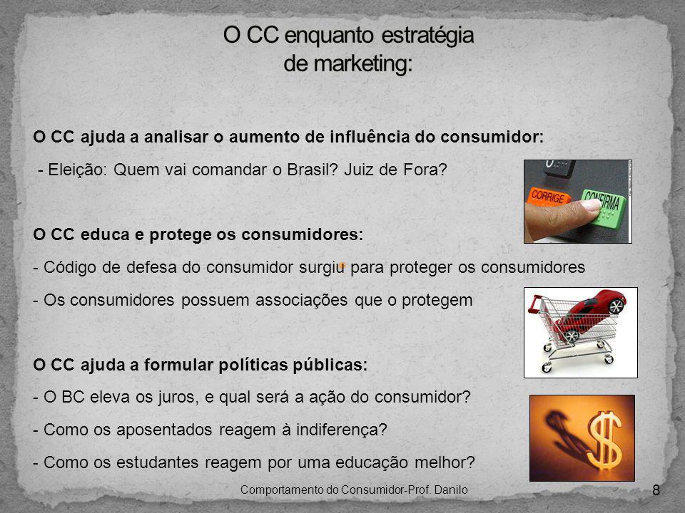 8 Comportamento do Consumidor-Prof. Danilo O CC ajuda a analisar o aumento de influência do consumidor: - Eleição: Quem vai comandar o Brasil? Juiz de