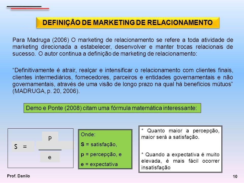 Para Madruga (2006) O marketing de relacionamento se refere a toda atividade de marketing direcionada a estabelecer, desenvolver e manter trocas relac