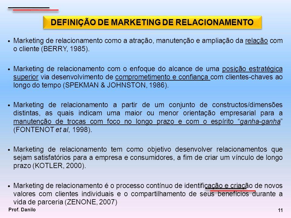 Marketing de relacionamento como a atração, manutenção e ampliação da relação com o cliente (BERRY, 1985). Marketing de relacionamento com o enfoque d