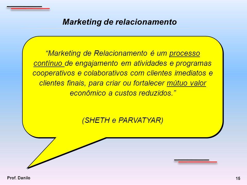 Marketing de Relacionamento é um processo contínuo de engajamento em atividades e programas cooperativos e colaborativos com clientes imediatos e clie