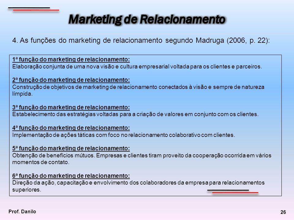 4. As funções do marketing de relacionamento segundo Madruga (2006, p. 22): 1ª função do marketing de relacionamento: Elaboração conjunta de uma nova