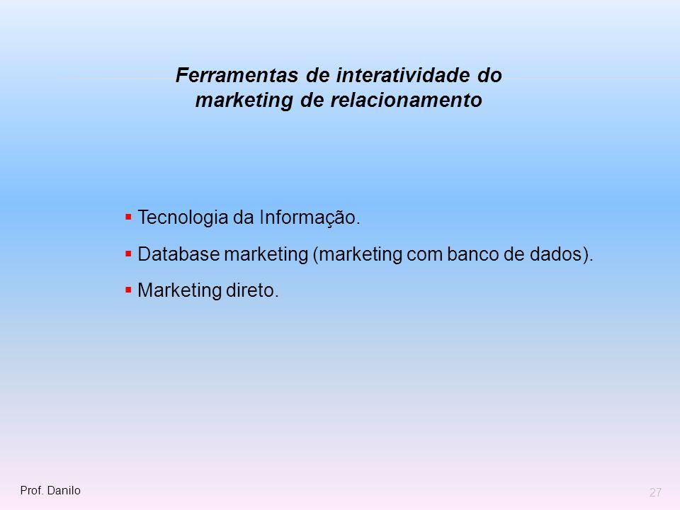 Tecnologia da Informação. Database marketing (marketing com banco de dados). Marketing direto. Ferramentas de interatividade do marketing de relaciona