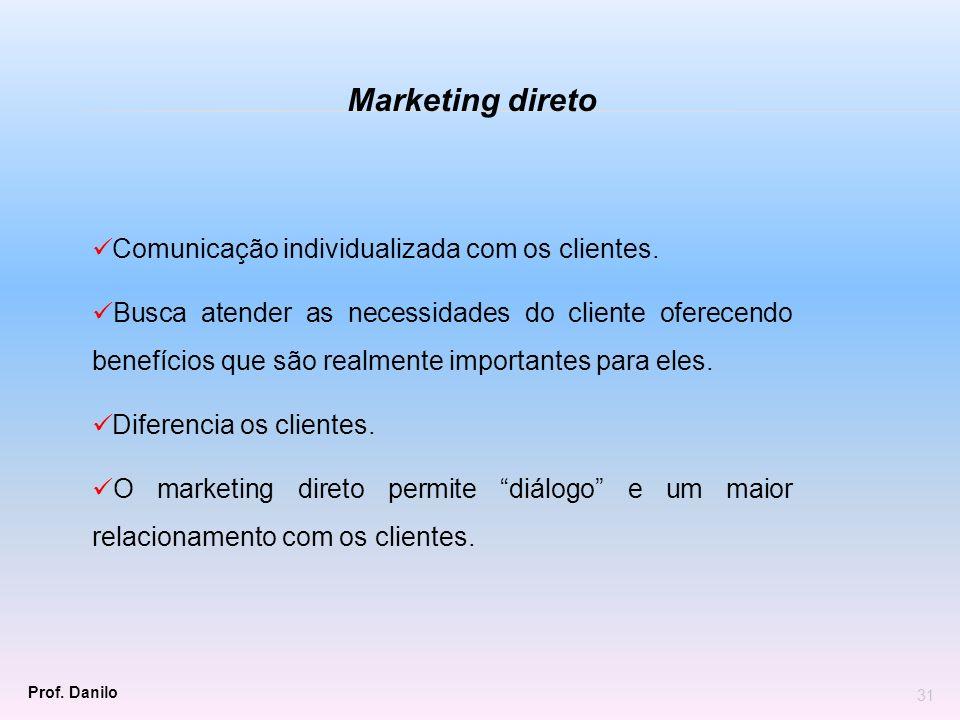 Comunicação individualizada com os clientes. Busca atender as necessidades do cliente oferecendo benefícios que são realmente importantes para eles. D